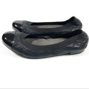 Stuart Weitzman leather quilted ballet flat shoe